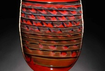 Red Art Glass / Dynamic Rich, Vibrant Red hand blown art glass sculpture contemporary in design form.