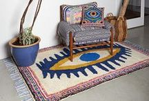 Blue and White Eclectic / Home ideas based on Mexican weaving, Royal Copenhagen china, and star charts.