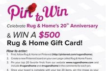 """Top 20 Faves for Our 20th / Rug & Home is hosting a """"Pin to Win"""" #giveaway in celebration of our 20th anniversary!  One lucky winner will receive a $500 Rug & Home gift card. Follow the rules on our #pintowin graphic within this post."""