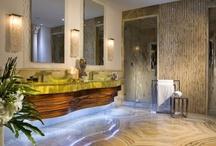 Cool Bathrooms / Beautiful bathrooms featuring natural stone tile, flooring and countertops.  Product include granite, travertine, marble, onyx, limestone and quartzite. #MarbleOfTheWorld #BathroomVanity  #Bathroom