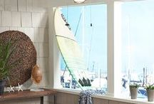 Coastal Home Decor / Accessorizing around your nautical ceiling fans or lighting can take your room to another level. Lights, seashells, lighthouse or anchor decorations creates a maritime effect in the room. http://www.delmarfans.com/ceiling-fans/nautical/