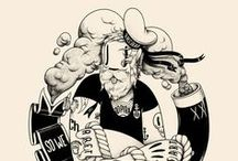 """Mc Bess / born July 5, 1984, is a French illustrator living in London. His style is a mix of influences such as Fleischer Studios' old cartoons he actualizes by using contemporary shapes, symbols, and types. Mcbess's drawings often present himself at the center of a surrealist world filled with food and musical references, such as amps, guitars and records. Mcbess is also a musician in the band """"The Dead Pirates."""""""
