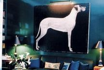 Interiors with dog art. / Examples of cool interiors including dog themed art work displayed in a cool, non-crazy dog lady way.