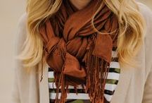 how to wear a scarf / Scarf: A length of fabric worn around the neck that can be tied and knotted in nearly a thousand different ways. A.K.A., my favorite clothing accessory.