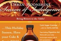 Season of Indulgence: Bring Bitters to the Table! / Ever wanted to start a new Thanksgiving tradition with your folks?  Consider serving an aperitf before your big meal to whet everyone's appetites and get your digestive prowess in full gear: a few dashes of your favorite bitters in a shot glass and top off with sparkling mineral water, garnish with a twist or some frozen cranberries!   / by Urban Moonshine