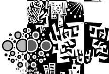 Notans / Black and white art and Notan with zentangle patterns