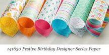 Festive Birthday Designer Series Paper / Ideas for using Stampin' Up! Festive Birthday Designer Series Paper