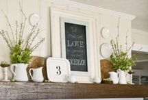 Farmhouse Style / A rich, layered look combining vintage flea-market finds and furniture designs from rustic farmhouse pieces with a diverse collection of new and antique accessories and artwork. Dusty colors, timeworn or handmade textiles, and collected objects to create a cozy lived-in feel