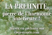 Prehnite / Ce minéral est semi-transparent à translucide, souvent d'un vert huileux qui peut aussi varier entre le jaune pâle et le brun. La prehnite est souvent utilisée pour la réalisation de bijoux. Ceux-ci sont particulièrement intéressants pour leur transparence discrète et un effet agréable au toucher ... en savoir plus sur www.crea-stones.com
