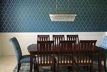 Stenciled & Painted Dining Rooms / These are delicious dining room ideas using wall stencils! Our stencil patterns can help create gorgeous accent walls, or embellish a piece of furniture, curtains, rug or lampshade.  Stenciling is an easy and inexpensive way to makeover a dining room. / by Cutting Edge Stencils