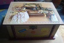 Madera decorada con decoupage / Cajas decoradas,portafotos, malmas....