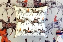 Equestrian Collection / Cantering Horse Cashmere Collection in pillows and throws.