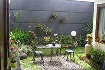 desain eksterior rumah / koleksi taman untuk rumah, kolam ikan, tanaman dan desain eksterior