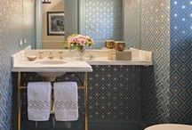 Room: Powder Bath / Mosaic inspiration for the tiny jewel box of the home, also known as the powder room! We love to see the unique, beautiful, and fun ways our clients use our mosaics in their powder rooms. The small space allows for BIG impact with custom mosaic tile.