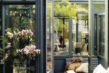 Orangerie / Citrus garden ideas, city sunroom, own greenery, tropical plants, glass home, conservatory, garden room, light chinoiserie, japanese garden at home, l`orangerie. Interior courtyard. Winter garden.