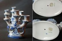 Gzhel - Russian Ceramics / 1991 ~ 1992 Collectables handmade in USSR and Russia