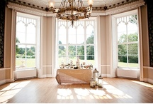 Whimsical Woodland / Moss, birch, porcelain and white ceramic animals, cherries, woodland fruits, silver ware and glass wedding style tables... wedding inspiration from Surrey wedding venue Nonsuch Mansion