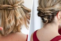 Hair - Updo / Half up messy bun, pompadour with several sections, half up ponytail split and loop, half up French braid