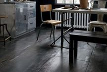 Industrial Chic / Porcelain tiles made to look like polished concrete, and other industrial chic living themes