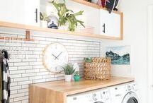 INSPIRATION: Laundry room / Ideoita toimivaan kodinhoitohuoneeseen ja kekseliäitä yksityiskohtia. / Ideas for functional laundry room and creative details.