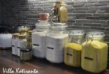 DIY: Lasiset säilytyspurkit keittiöön / Glass jars for kitchen / Lasiset säilytyspurkit keittiön kuiva-aineille. Dymo -laitteella tekstit purkkien kylkeen. / Glass jars for storing food ingredients in kitchen. Texts to the jars made with Dymo -machine.