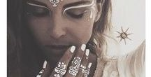 photo shoot inspiration / ideas for photo shoots is a collection of festival inspired photos incorporating temporary tattoos, glitter, body paint, outfits and make-up.