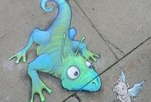 "David Zinn / David Zinn has been creating original artwork in and around Ann Arbor since 1987, serving all manner of commercial clients from small shops to major municipalities while simultaneously sneaking ""pointless"" art into the world at large.  David's temporary street art is composed entirely of chalk, charcoal and found objects, and is always improvised on location."