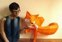 "Wolfram Kampffmeyer || Geometric Paper Animal Sculptures / Wolfram Kampffmeyer, a talented artist based in Germany, creates beautiful geometric paper animal sculptures in elegant pastel colors that look like computer models that have come to life. ""If you are sitting in front of the computer all day watching your virtual models, you start wishing to hold them in your hands."" 