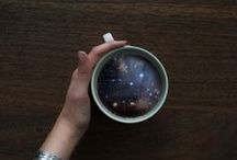 "Victoria Siemer || Waves and Galaxies / One of her ongoing series, ""Waves and Galaxies"", presents grand celestial and oceanic vistas within the framework of a coffee cup. The images exude either tranquility, or an overwhelming dread.  One image of a cup containing a dark galaxy is humorously captioned, ""Houston, we have a Monday,"" on her blog. These exhilarating microcosmic breakfast-beverages are wonderful exercises, waking up Siemer's creative-juices for the day.  ON WEB: http://witchoria.com/"