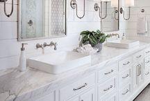BATHROOMS / dreamy bathrooms, white marble, master bath, guest bath
