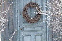 wreaths on the door