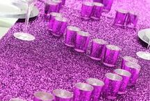 wecanpackage.com : Purple Decoration Ideas / crystal candelabras decorated with purple sparkle table runners , purple mercury votive cups, and purple charger plates for wedding party and special events decoration ideas.