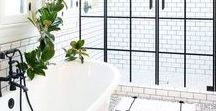 bathroom decor / Bathroom interior design inspiration! Everything from tubs, sinks, tile, showers, vanities, to bathroom furniture and decor. #bathroominspiration #bathroomdesign