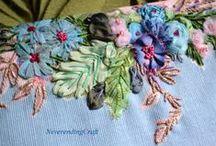 Mes créations textiles ...  NeverendingCraft / http://www.neverendingcraft.canalblog.com  Broderie au ruban, transfert, broderie, tissus ...