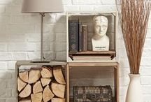 Rustic modern / Building home shelving scenes, Crates, object on display, wooden shelving, interior styling