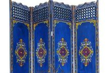"""Moroccan Screens / Moroccan dividers or screens can be made from of metal forged by hand or by wooden lattice design or solid handpainted; our selection is astonishing whether you are looking to use them to screen off or to divide your space with a bit of flair. Most our screens have three panels to be folded easily out or away or have them pulled apart to convert them into a stunning show piece on the wall. Size: 70""""x54""""x1"""""""