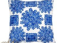 """Embroidered Pillows / Embroidered by Moroccan artisans to bring an ethnic chic touch to your space. Infuse your space with warmth and character with this bold pillow with intricate pattern and lush textures. Size: 14""""x14""""x2"""""""