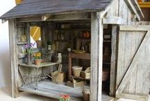 Dolls House Garden & Tool Shed / Miniature garden furniture, garden accessories, shed and workman's tools