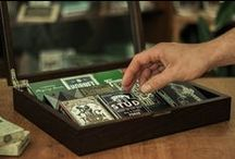 1st Edition Display Cases / Our launch products: handmade hardwood display cases for 8 and 12 decks of cards.