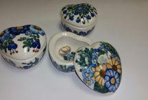 Hearts - Polish Pottery / Oven & Microwave & Dishwasher Safe Polish Pottery Hearts Shaped Dishes