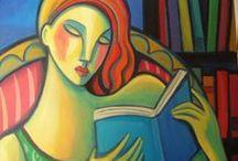 Leyendo / Reading /  Pintura e ilustración. Painting and illustration.  / by Biblioteca de Ribadesella