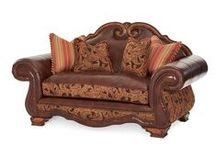 Antique Style Formal Sofa Sets / These formal sofa sets feature hand-carved exposed wooden frames and plenty of pillows to enhance your formal living room with an antique look at a reasonable price.