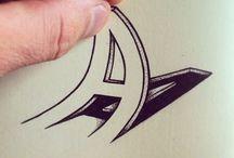 Les Lettres et les Chiffres - Calligraphy / Font - Police de Caractère - Typographie -Calligraphie - Langue des signes  / by Danielle -Kirby