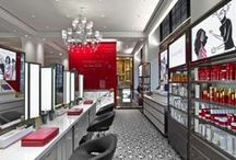 The Red Door / The Red Door is a multi-level space in New York City which combines beauty retail with express hair, nail and spa services above with a traditional full service salon and spa below.