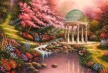 Thomas Kinkade / Beautiful art of Thomas Kinkade. I love his work!