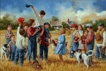 """˜""""*°•.˜""""*°• Jim Daly •°*""""˜.•°*""""˜ / Jim Daly is one of the most well-known Realist artists, and his beautiful paintings showcase everyday events in rural America and focus on childhood nostalgia."""
