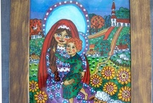The reverse glass paintings / Folk art glass painting collection.