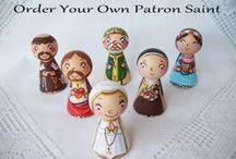 Happy patron saint painted wooden child children figurines dolls toys / The collection of the patron saint figurines. They are wooden dolls hand painted with non-toxic acrylic paints and varnished, using non-toxic water varnish.
