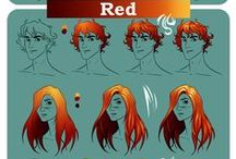 Hair color charts / A little help for painting hair digitally. These color palettes are great not only for natural hair colors, but there are charts for strange hair colors like blue, green, purple, white and so on.