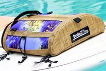 SUP Gear & Deck Bags / DeckBagZ, the first, the original, the only retro surf style deck bags for your paddle board or kayak.  In Hawaiian tropical, vintage style hibiscus, digital camo & leopard animal print, these hook on SUP deck bags will stay on your board, even when you don't! We also make matching neoprene, hook on accessories: padded carry straps, bottle koozies, sunglass cases, wristlets & sunglass straps for all your outdoor activities.  https://DeckBagZ.com